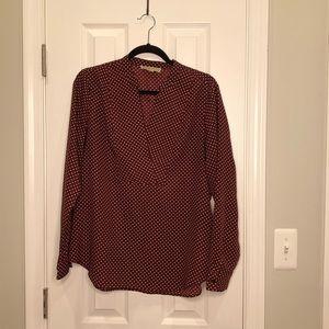 MICHAEL KORS | Burgundy Polka dot blouse